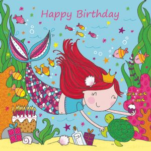 LIL14 - Mermaid Happy Birthday Card